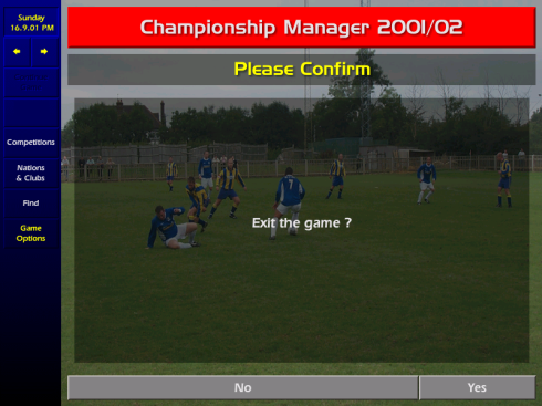 Championship Manager 0102 Exit Screen